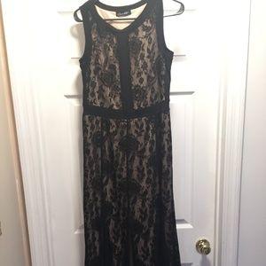 Black Lace overlay Evening Dress